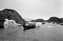 Greenlandic Inuit from the 1930s pictured in their traditional boats (umiaq), used for hunting and transportation. Credit: Jette Bang Photos/Arktisk Institut. Copyright: Arktisk Institut