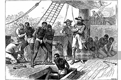 UNSPECIFIED - CIRCA 1880: Captives being brought on board a slave ship on the West Coast of Africa (Slave Coast). Wood engraving c1880 (Photo by Universal History Archive/Getty Images) Credit: UniversalImagesGroup / contributor