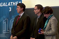 Fra venstre: Professor Minik Rosing, professor Ole Mertz og professor Katherine Richardson. Foto: Kent Pørksen.