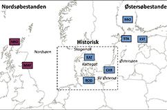 Kort over udbredelsen af de to gråsælspopulationer i Nordeuropa før udryddelsen omkring år 1900.