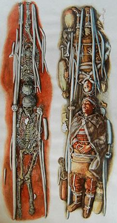 Illustration af begravelsespladserne fra Sunghir. Illustration: Libor Balák, Anthropark.