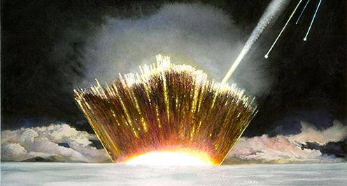 En kunstners bud på meteornedslaget gennem Indlandsisen i Nordvestgrønland.