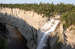 Anticosti Island, Quebec, Canada, is one of the most spectacular locations in the World when it comes to studying the Late Ordovician mass extinctions. This is because of the extremely fossiliferous limestones that constitutes the bulk of the island. Here, the 76 m high Vauréal Falls, the second heighest water fall in Canada. The great extinction event starts right at the onset of the waterfall. Photo: CMØ Rasmussen.