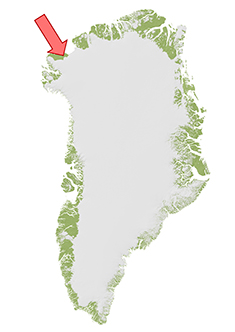 Map of Greenland showing the location of the Hiawatha impact crater in Inglefield Land, along the northwest margin of the Greenland Ice sheet.