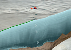 Ice radar survey over Hiawatha Glacier by the Alfred Wegener Institute's Polar 6 research aircraft. The radar data reveal both the topography of the impact crater beneath the ice, as well as the layering of the ice itself. This survey revealed that ice older than the Holocene (the past 11,700 years) is heavily disturbed.