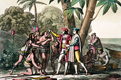 First encounter. Columbus landing in the New World (Image courtesy of Library of Congress).